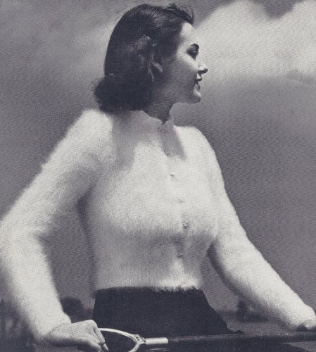 Vintage Knitting PATTERN to make - Knitted Angora Faux Fur Cardigan Sweater Shorty Jacket. This is a pattern and/or instructions to make the item (Free Knitting Patterns Jackets)