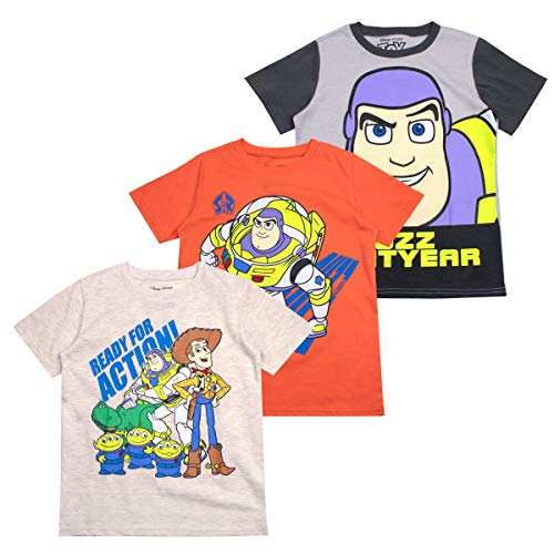 Buzz Lightyear Tee - Disney Toy Story Boys' T-Shirt (Pack of 3) 3T Beige