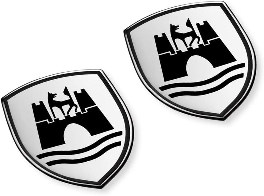 Volkswagen 5C0064317ASXRW Decorative Foil Set Wolfsburg Crest Emblem Satin Black Chrome Gloss