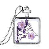 Gmai Square Perfume Glass Pendant Purpledried Pressed Flower Necklace,white Gold Plating