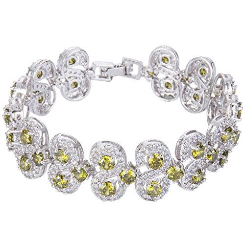 EVER FAITH Silver-Tone CZ August Birthstone Vinstage Style Art Deco Roman Tennis Bracelet Peridot Color