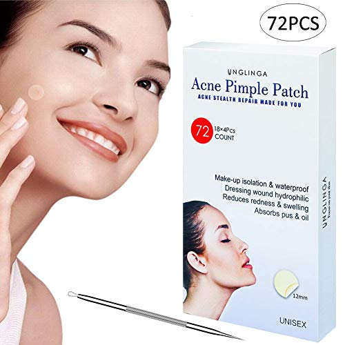 Acne Pimple Master Patch - 72Count Hydrocolloid Bandages Acne Spot Treatment Absorbing Zit Cover Healing Dots by UNGLINGA, Drug-free Non-drying, ?12mm