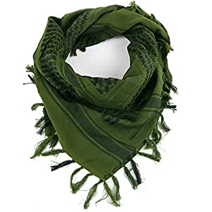 FREE SOLDIER 100% Cotton Military Shemagh Tactical Desert Keffiyeh Head Neck Scarf Arab Wrap(Army Green)