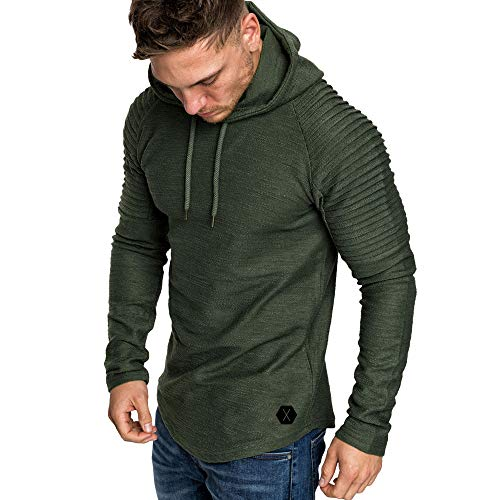 (OrchidAmor Fashion Men's Autumn Winter Slub Cotton Pleats Slim Fit Raglan Long Sleeve Hoodie Top Blouse Army)