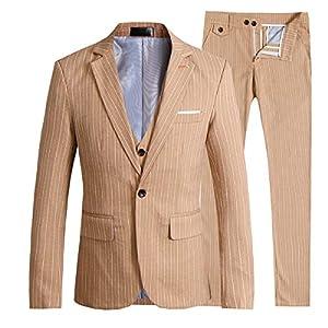 Mens Stripe Center Vent 1 Button 3-Piece Suit Blazer Jacket Tux Vest Trousers