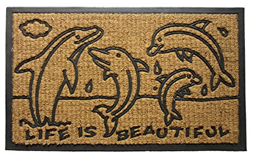Imports Decor Rubber Back Coir Doormat, Dolphin Family, 18