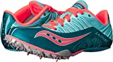Saucony Women's Spitfire Spike Shoe, Teal/Coral, 9 M US