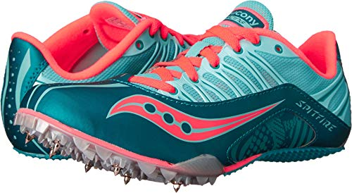 Saucony Women's Spitfire Spike Shoe, Teal/Coral, 10.5 M US by Saucony (Image #3)