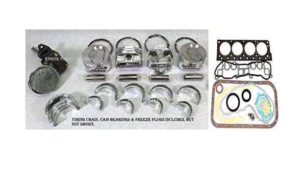 Piston Engine Rebuild Kit Pistons Rings /& Bearings /& Gaskets /& DBL Row Timing Oil Pump compatible with 1987-94 Chevy TBI 350 5.7L VIN-K ALL STD Sizes