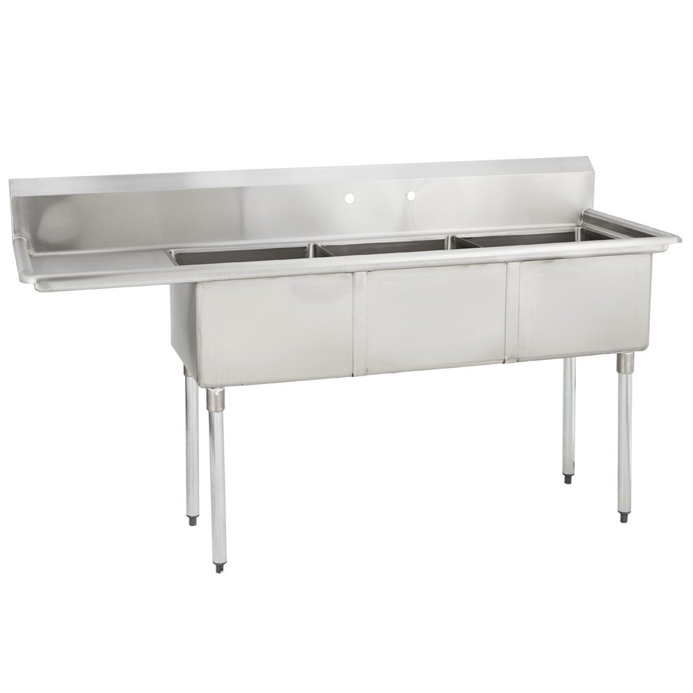Fenix Sol 16G-3C18X24-L18 Three Compartment Stainless Steel Sink, Bowl: 18''L x 24''W x 14''D, Overall Size: 74.5''L x 29.8''W x 43''H, 1 x 18'' Left Drainboards, Galv Legs
