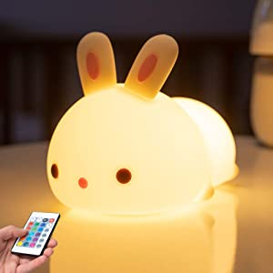 Bunny Night Lights for Girls, Cute Rabbit Animal Baby Toddler NightLight Led Nursery Girls Night Light for Kids, Color Changing Silicone Cute Lamp for Boys Girls Birthday Christmas (Timer Remote)