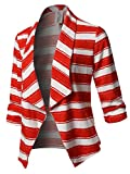 Awesome21 Stretch 3/4 Gathered Sleeve Open Blazer Jacket Red White Size S