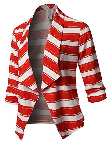 (Stretch 3/4 Gathered Sleeve Open Blazer Jacket Red White Size L)