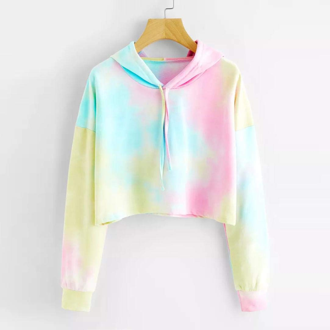 OWMEOT Women's Long Sleeve Hoodie Sweatshirt Colorblock Tie Dye Print Pullover Shirt Blouse