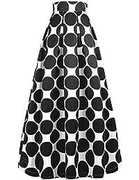 NINEWE Women's White Contrast Polka Dot Print Maxi Skirt