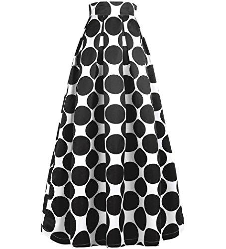 NINEWE Women Maxi Chiffon Skirt Dress Polka Dot - Woman Skirts Casual