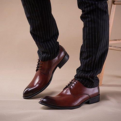 GRRONG Chaussures En Cuir Affaires Pointu Loisirs Robe De Soirée D'hommes Brown cZNgS