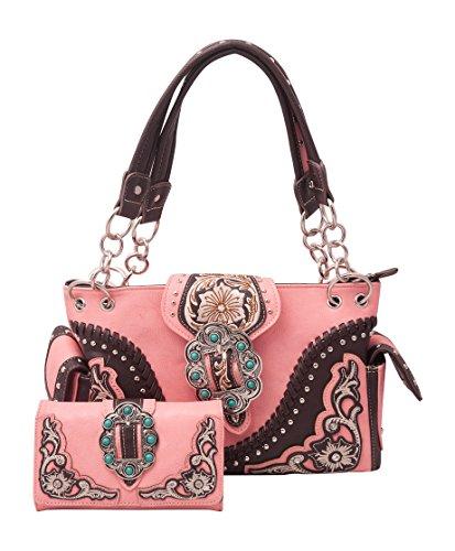 Western Style Decorative Buckle Concealed Carry Handgun Handbag And Wallet Set (pink)
