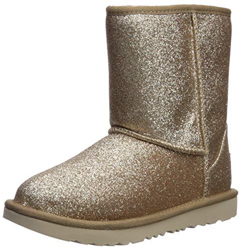 UGG Girls' K Classic Short II Glitter Fashion Boot, Gold, 1 M US Little Kid