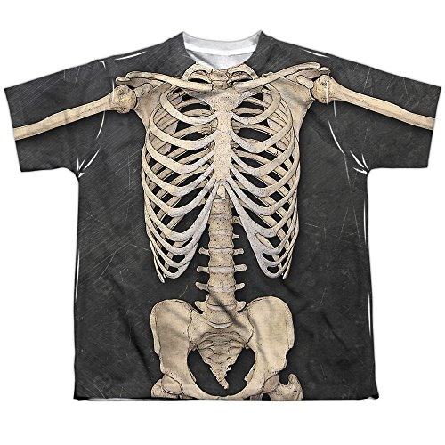 [Skeleton Costume Big Boys Sublimation Shirt White Md] (Womens Skeleton Costumes Tshirt)