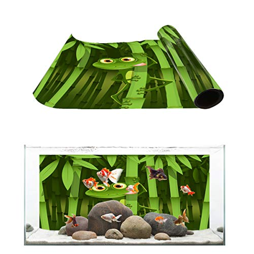 Fantasy Star Aquarium Background Green Frog Bamboo Camouflage Fish Tank Wallpaper Easy to Apply and Remove PVC Sticker Pictures Poster Background Decoration 24.4