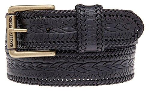 - Harley-Davidson Mens Gravel Hand Tooled Genuine Leather Belt HDMBT10852-BLK (42)