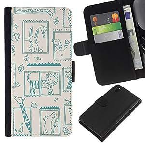 KLONGSHOP // Tirón de la caja Cartera de cuero con ranuras para tarjetas - Lion Zoo Kids Dibujo Madre Mamá Niño - Sony Xperia Z3 D6603 //