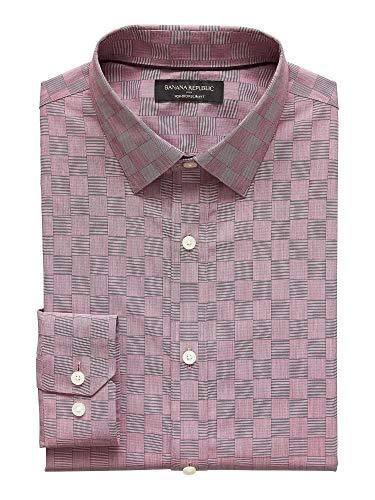 - Banana Reublic Mens Slim-Fit Non-Iron Yarn Dye Shirt, Burgundy (XL)