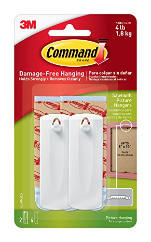 Command Sawtooth Picture Hangers, White, 2-Hangers (17040-2ES)