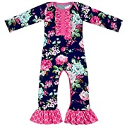 Anbaby Baby Girls Cute Romper Bodysuit Clothes (0-6Months, Floral)