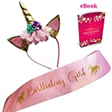 #4: Marvs Store Unicorn Birthday Girl Set of Gold Glitter Unicorn Headband and Pink Satin Sash for Girls, Happy Birthday Unicorn Party Supplies, Favors and Decorations - 2018 New.