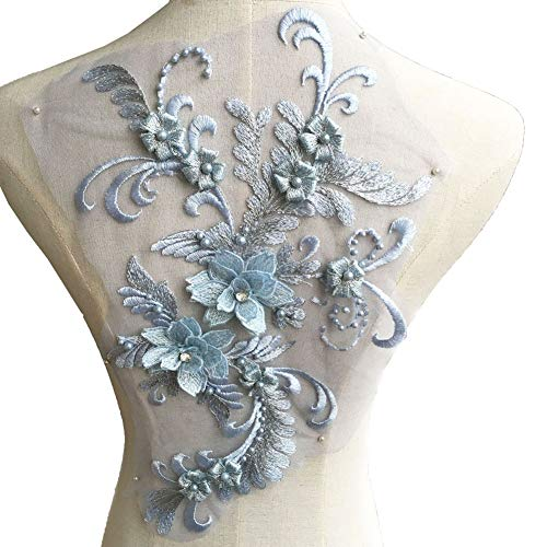 Beaded Embroidery Flower Patches 3D Lace Applique Sewing Lace Motif Handcraft Accessoris for Costume Wedding Dress Bodices (Pale Blue) ()