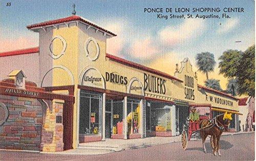St Augustine Florida Ponce De Leon Shopping Center Antique Postcard - Shopping Augustine St