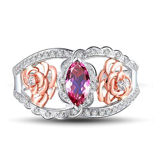 - Beyond jewelry Beautiful Solid Maquise Cut 3.5x7mm Natural Pink Tourmaline Diamond Ring 14K Two Tone Gold