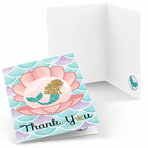 Note Mermaid (Big Dot of Happiness Let's Be Mermaids - Baby Shower or Birthday Party Thank You Cards (8 count))