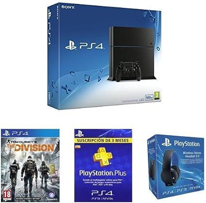 PlayStation 4 (PS4) - Consola 500GB + The Division + PSN Plus 3 Meses + Auriculares Estéreo Inalámbricos: Amazon.es: Videojuegos