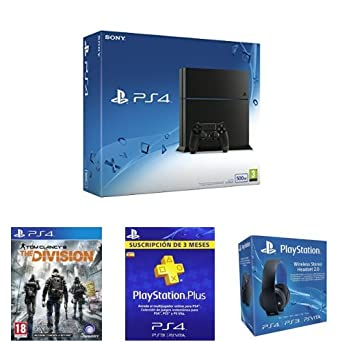 PlayStation 4 (PS4) - Consola 500GB + The Division + PSN Plus 3 Meses + Auriculares Estéreo Inalámbricos: Amazon.es: Videojuegos
