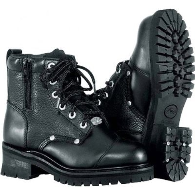 River Road Black Boots (River Road Double Zipper Field Women's Leather Cruiser Motorcycle Boots - Black / Size)