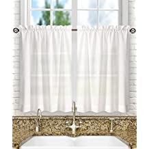 Ellis Curtain Stacey 56-by-30 Inch Tailored Tier Pair Curtains, White, 56x30
