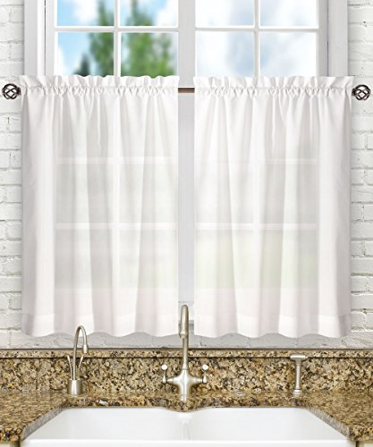 Pair Polyester Curtains - Ellis Curtain Stacey 56-by-30 Inch Tailored Tier Pair Curtains, White, 56x30