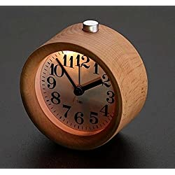 Surborder Shop Creative Small Round Classic Wood Silent Desk Travel Alarm Clock With Nightlight