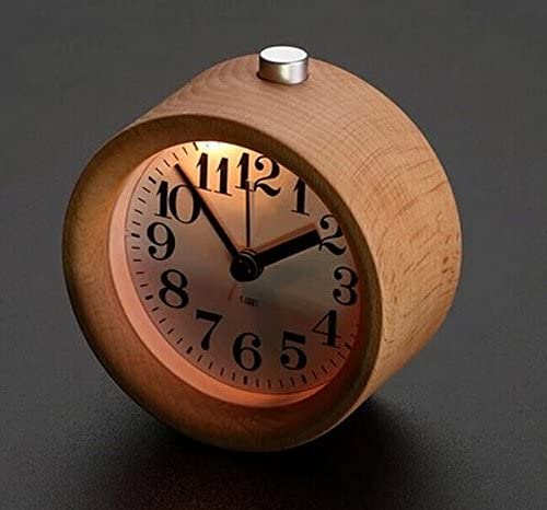 Surborder Shop Creative Small Round Classic Wood Silent Desk Travel Alarm Clock With Nightlight