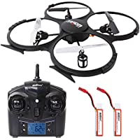 SGILE 2.4 GHZ 720P HD Camera Drone with 2 Batteries and LED Light, 6-AXIS Hexacopter Gyro Drone with Home Return/Headless/360 Flips Roll Mode for Boys Adults Kids