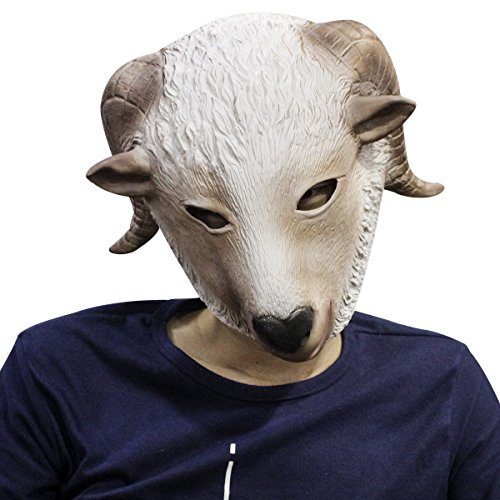 Novelty Latex Rubber Creepy Goat Full Face Mask Halloween Party Costume Decorations (Clown Faces Scary)