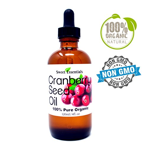 Organic Virgin Cranberry Seed Oil | Imported From Canada | Various Sizes | 100% Pure| Unrefined | Cold-Pressed | Natural Moisturizer for Skin, Hair & Face | By Sweet Essentials (4 fl oz Glass)