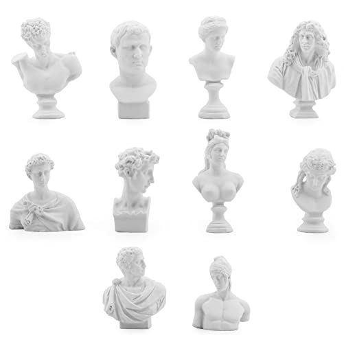 Owfeel A Set of 10 Different Plaster Bust Statues Resin Casting Painting White 2.1 -3.0