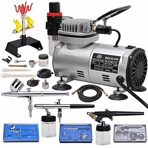 Multi-purpose Professional Airbrush Kit with 3 Dual-action Spray Airbrushes & Compressor & 6' Air Hose & Brush Holder Ta]()