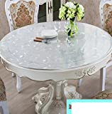 XKQWAN Pvc Round soft glass table mat Clear Waterproof tablecloths Table cloth Crystal plate coffee table mat-D diameter70cm(28inch)