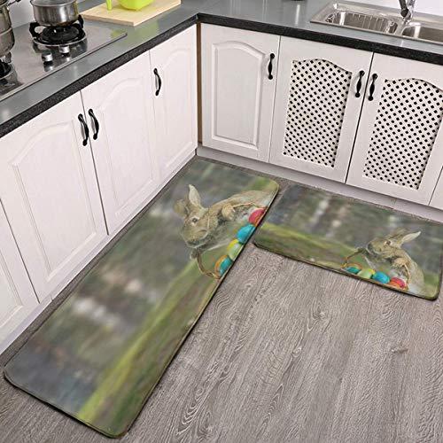 Kitchen Mats Cushioned Anti Fatigue 2 Piece Set Happy Easter Eggs Rabbit Bunny Stylish Kitchen Rugs, Floor Mats Carpet…