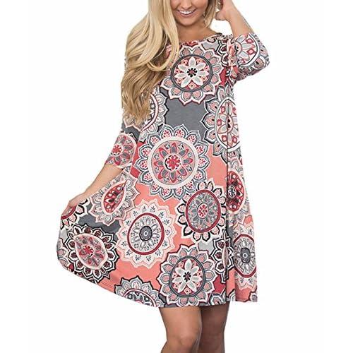 efec19edd18 Sanifer Women's 3/4 Sleeve Floral Printed Tunic Dresses Long Shirts Blouses  Tunic Tops For